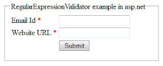 RegularExpressionValidator validation control example in asp.net