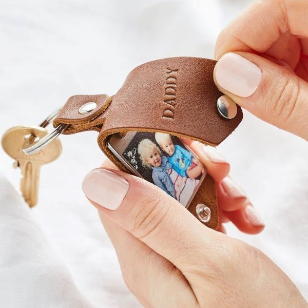 stocking stuffer gift ideas for men - leather photo frame key fob