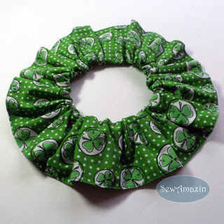 Shamrocks and Polka Dots Pet Scrunchie Ruffle