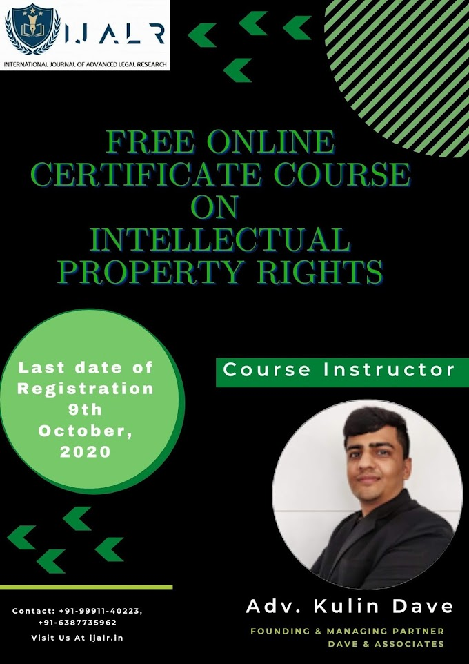 FREE ONLINE CERTIFICATE COURSE ON INTELLECTUAL PROPERTY RIGHTS
