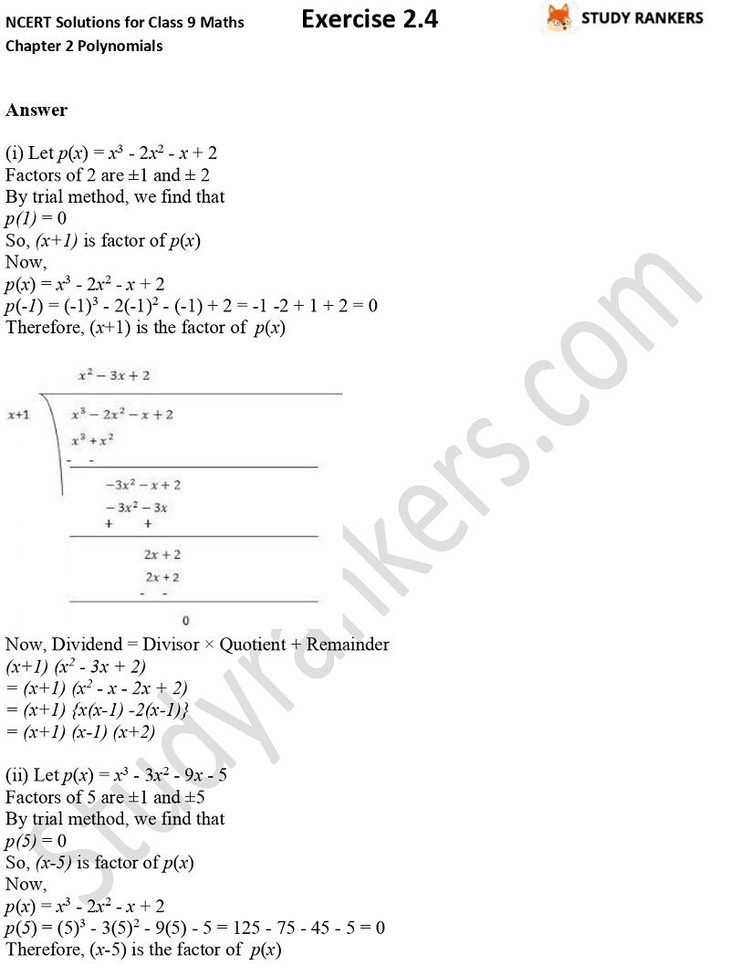 NCERT Solutions for Class 9 Maths Chapter 2 Polynomials Exercise 2.4 Part 4