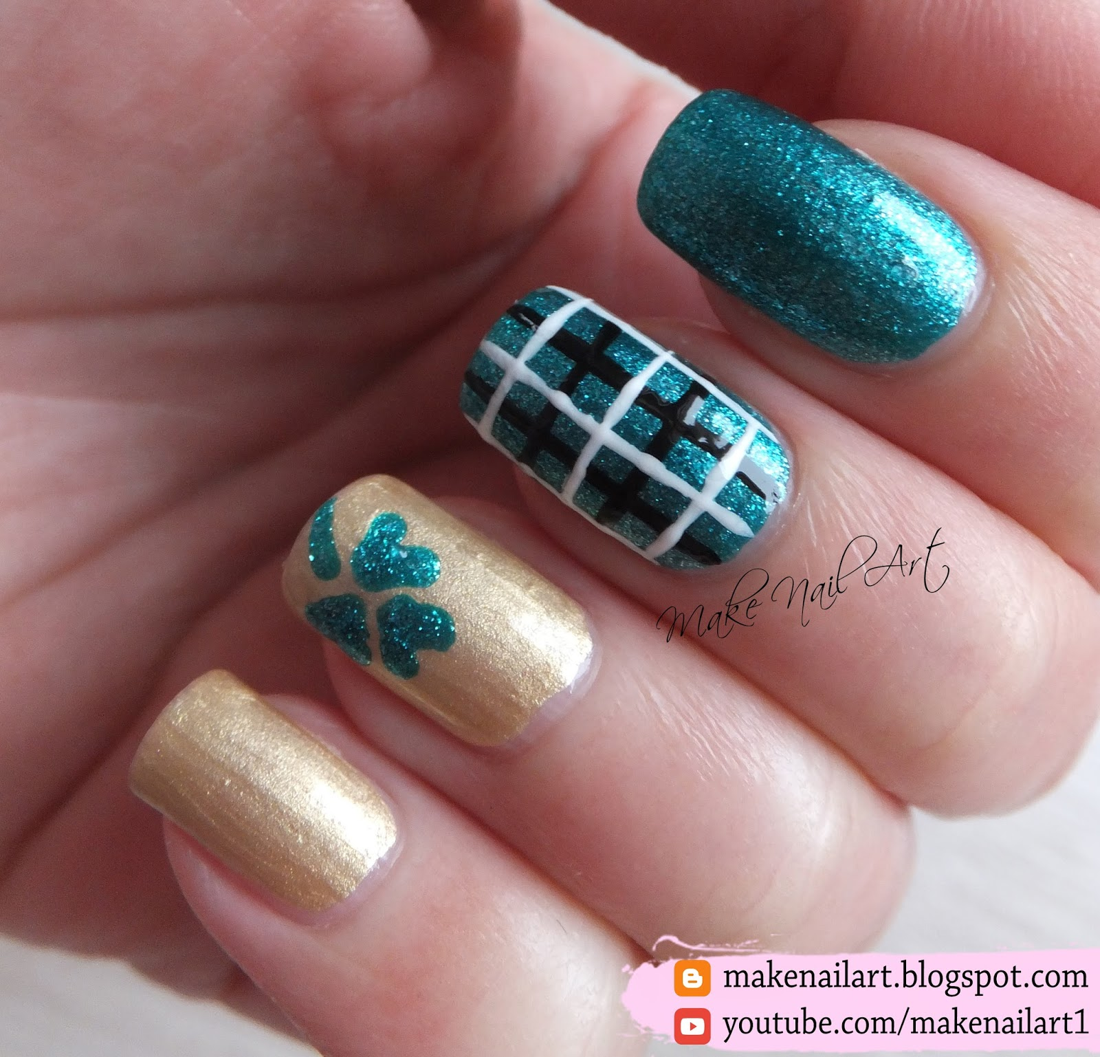 Make Nail Art St Patricks Day Easy Plaid And Shamrock Nail Art