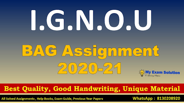 IGNOU BAG Assignments 2020-21,Free Download IGNOU Assignments