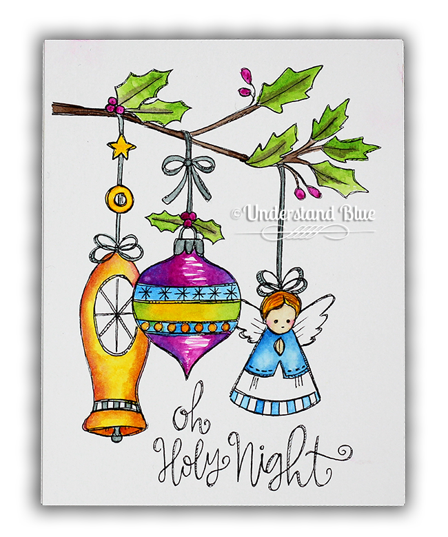 Oh Holy Night watercolor card by Understand Blue