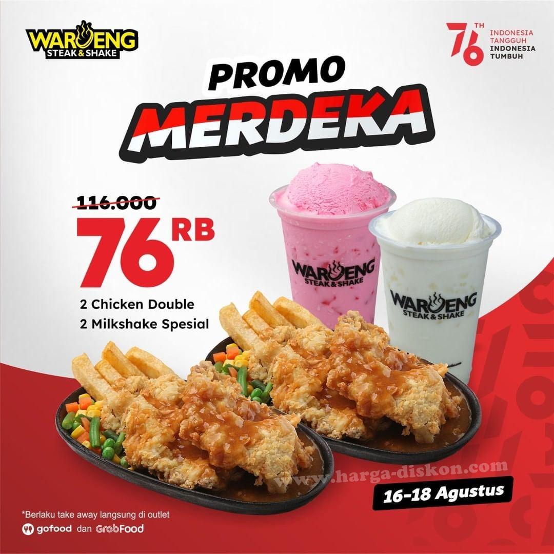 <div>Promo WAROENG Steak & Shake 2 Chicken Double + 2 Milkshake spesial Rp76.000 16-18 Agustus 2021</div>