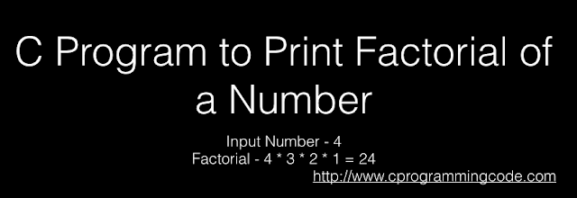C Program to Print Factorial of a Number