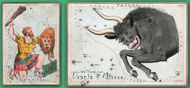 Cartas de Orión y Tauro de Urania's Mirror, 1824
