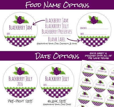 Gingham Black Raspberry Jam canning jar labels