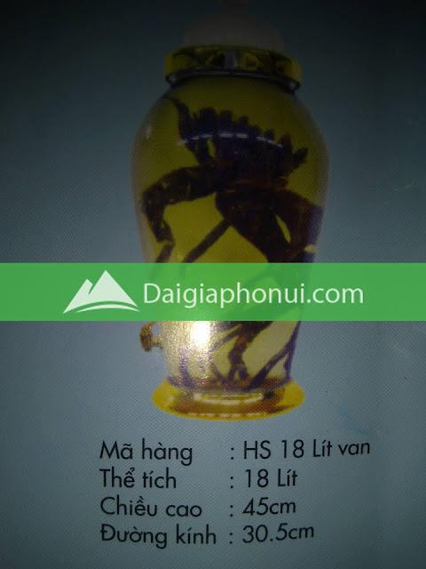 thông số bình ngâm rượu Phú Hoà mã số HS 18 LÍT VAN/VÒI