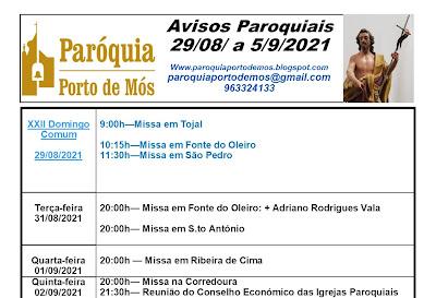 Avisos Paroquiais - 29 de Agosto a 5 de Setembro de 2021