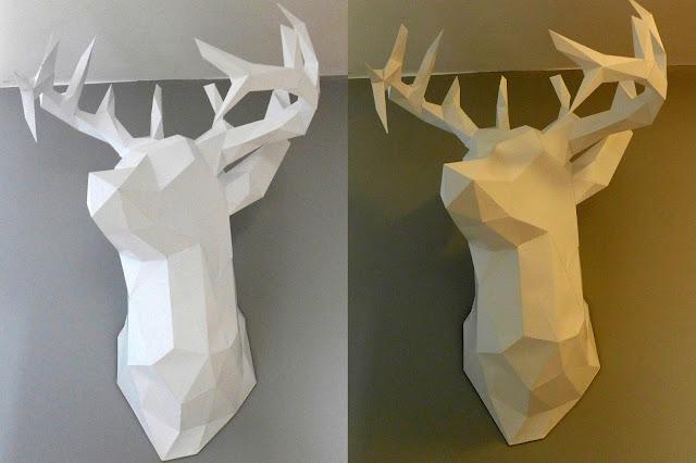 Głowa jelenia z papieru na ścianę