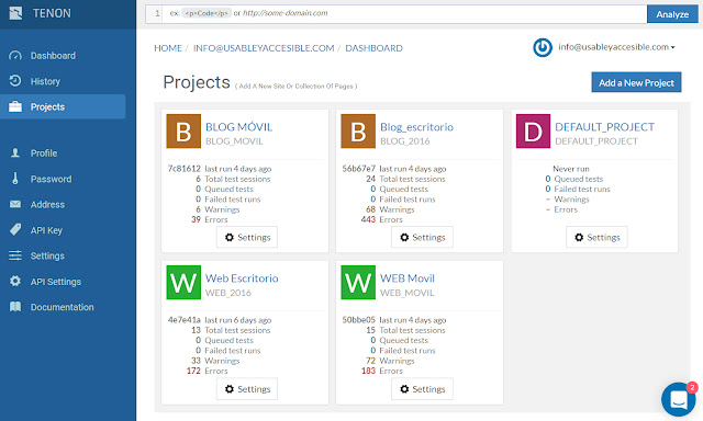 Proyectos en Tenon: blog móvil, blog escritorio, web escritorio y web móvil. En cada uno se indica: cuando se ejecutó, cuántos test se realizaron, cuántos errores y advertencias se detectaron.