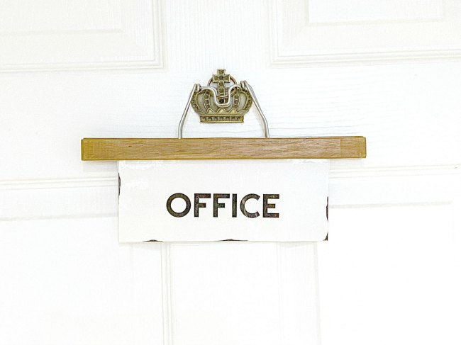 Make an Easy Vintage Hanger Office Sign