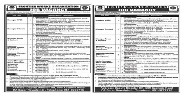 Frontier Works Organization FWO Jobs 2020| Multiple Posts