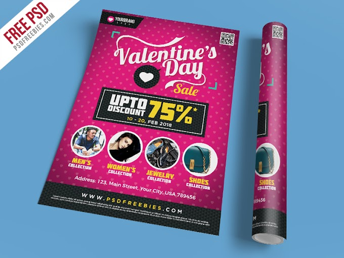 Free PSD : Valentines Day Shopping Sale Flyer Template Free PSD