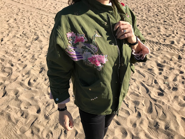 Romwe Army Green Embroidery Drawstring Coat With Zipper