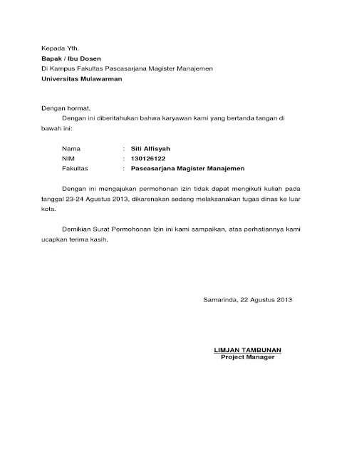 Contoh Surat Izin Tidak Masuk Kuliah (via: scribd.com)