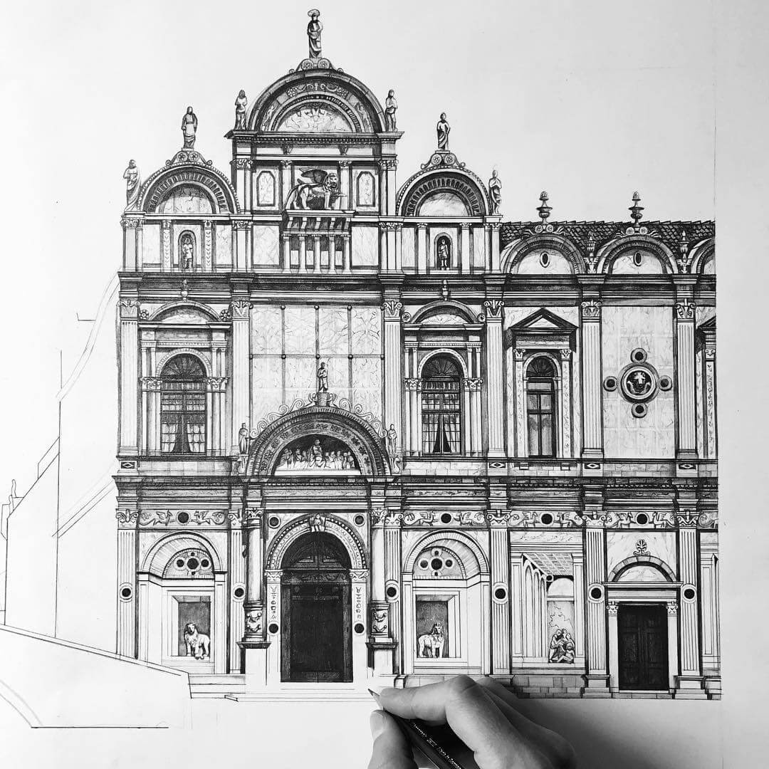 12-Venice-Italy-Minty-Sainsbury-Traditional-Architecture-Drawings-in-Pencil-www-designstack-co