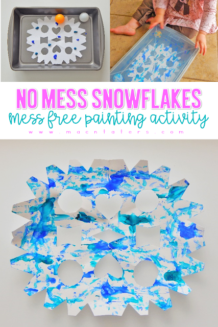 No Mess Painted Snowflakes are perfect for toddlers and preschoolers. Mess free art