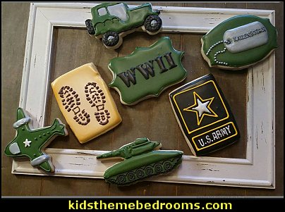 Army Cookies  military cakes, decorations, military party foods and favors army party decorations - Camouflage Party Supplies - army party ideas - Military party ideas for a boy birthday party - Army & Camouflage decorations - army party decoration ideas - army themed party - army costumes - Army Camo Party Supplies -