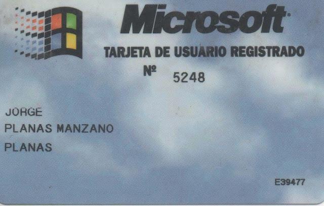 Microsoft- Targeta de usuario registrado nº 5248