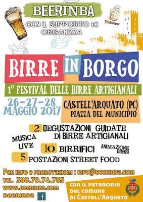 Birre in Borgo, festival delle birre artigianali 26-27-28 maggio Castell'Arquato (PC)