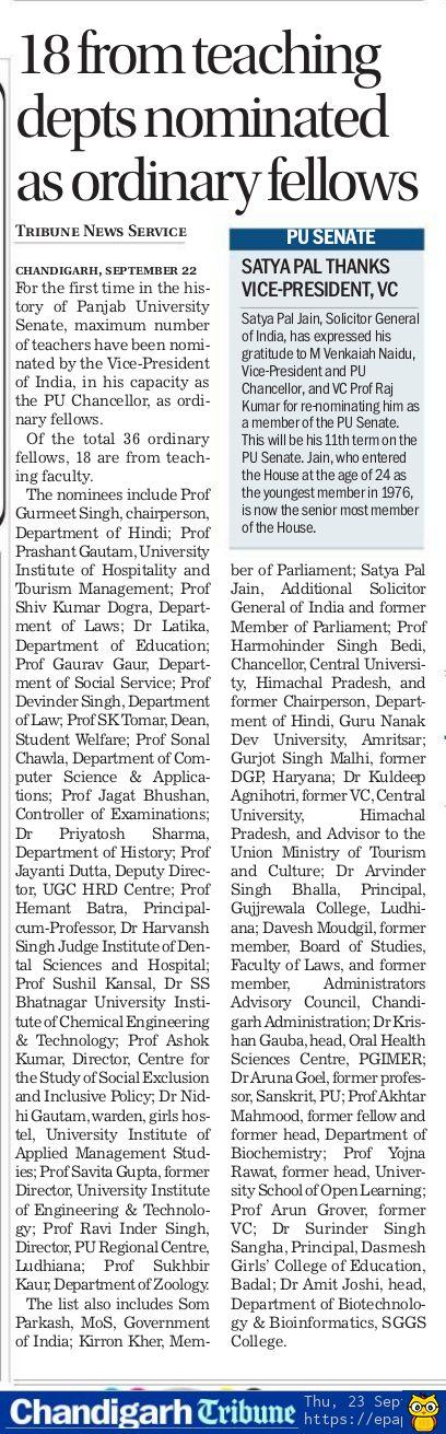 PANJAB UNIVERSITY SENATE: 18 from teaching depts nominated as ordinary fellows   Satya Pal Jain thanks Vice-President, Vice Chancellor