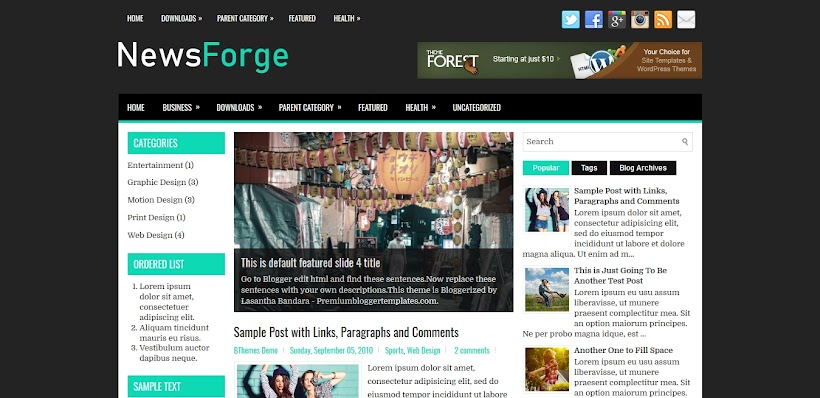 NewsForge Free Blogger Template