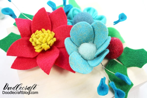 Felt Flower #4: The final flower is just petal shapes cut from felt and glued around a felt ball. It's simple and fabulous.