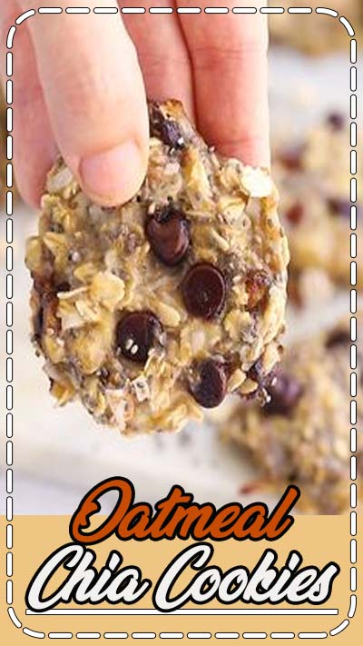 These oatmeal chia cookies are perfect for breakfast or as a healthy snack. The texture is chewy and similar to baked oatmeal. Plus they're portable and great for meal prep! #chiacookies #healtyoatmealcookies #glutenfreecookies #eatingbirdfood #chiaseedrecipe