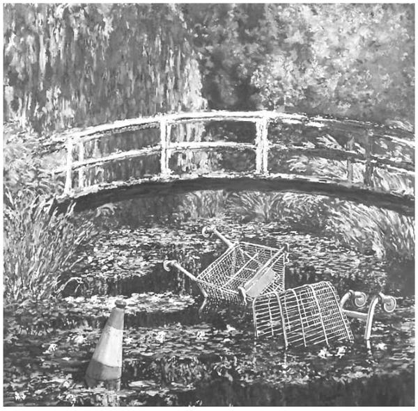 Mostre-me o Monet, de Banksy, é uma releitura de O Lago das Ninfeias, do pintor impressionista francês Claude Monet.
