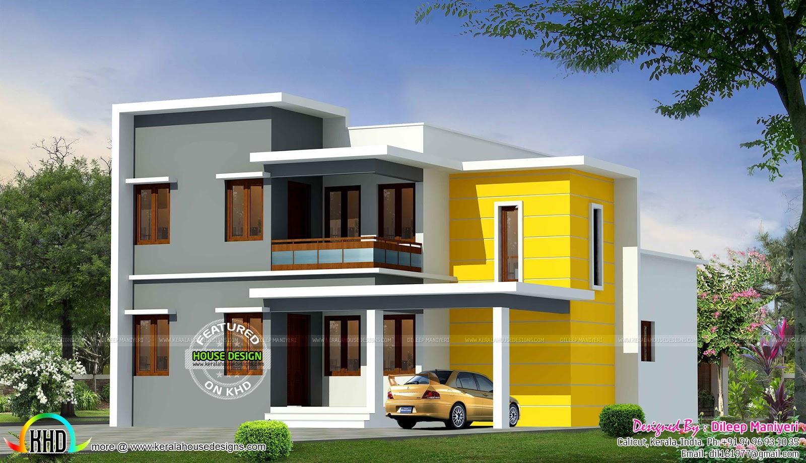 1975 Sq Ft Box Model Flat Roof Home Kerala Home Design