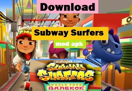 carabapak.com - download Subway Surfers Bangkok mod Apk - halo anak anaku dimanapun kamu berada. Gimana kabarnya hari ini? semoga dalam keadaan sehat selalu. Kali ini bapak akan membahas mengenai game subway surfers Bangkok. Gimana perbedaaannya dan seperti apa keseruannya, silahkan simak penjelasan bapak berikut ini.      Subway surfers bangkok mod apk merupakan game berbasis android yang telah di modifikasi sedemikian rupa sehingga ketika kamu memainkannya, game ini memiliki koin atau uang yang sangat banyak jika kamu membelanjakannya pun tidak akan habis habis. Oleh karena itulah maka subway surfers bangkok mod apk ini disebut dengan game yang memiliki unlimited money.    Setiap beberapa lama, subway surfers selalu mengupdate gamenya tersebut. Hal ini bukan hanya untuk mengatasi bug yang ada, namun memberikan fasilitas atau tampilan yang selalu baru terhadap player game dan hal ini ternyata ampuh juga untuk pengalaman bermain.    Adapun beberapa fitur yang tersedia pada subway surfers bangkok mod apk ini adalah sebagai berikut:  Pergi ke Subway Thailand yang menakjubkan Berselancar di antara pasar apung dan patung emas di Bangkok yang indah Dash melalui jalan-jalan dengan Noon, petinju Thailand yang elegan Cari kereta bawah tanah untuk mencari kerang laut dan membuka hadiah mingguan menarik Bersaing untuk mendapatkan medali mengkilap dalam perlombaan Top Run mingguan Unlimited Coins Unlimited Keys. Infinite Surfing boards Unlocked Double coins.  Infinite powers up. Unlimited Head Starts. Unlimited Score Boosters at the start of the game.\\Full JetPack Full Super Sneakers Full Coin Magnet Full 2X Multiplier.  Jika kamu belum memiliki Game Subway surfers bangkok mod apk ini, kamu bisa mendownload game nya pada link berikut ini.    Subway Surfers Bangkok mod Apk [Download]    Ketika dalam permainan, kamu akan dikejar oleh sekuriti/polisi dengan alasan telah mencoret pagar tembok di tempat yang seharunya tidak boleh di coret coret seperti ini. Akibatnya kamu akan men