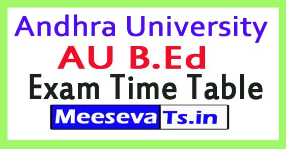 Andhra University AU B.Ed Exam Time Table 2017