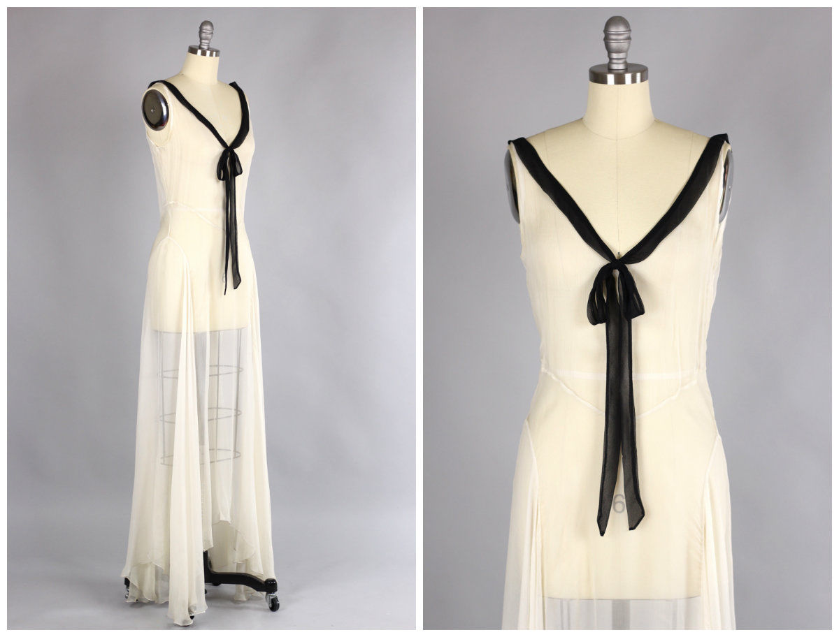 All The Pretty Dresses: Lovely 1930\'s Black and White Bias Cut Sheer ...