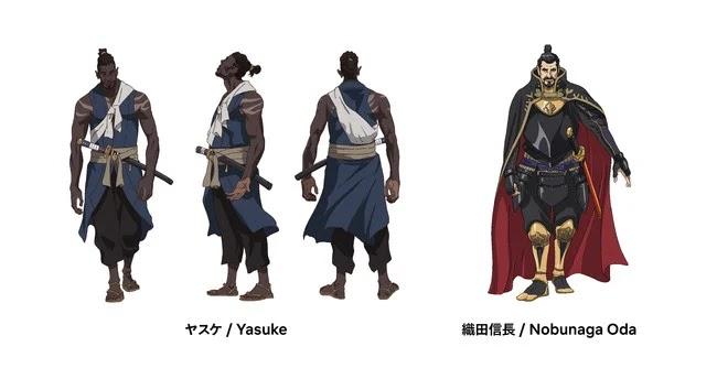 Diseños de personaje para Yasuke, anime original de LeSean Thomas y MAPPA.