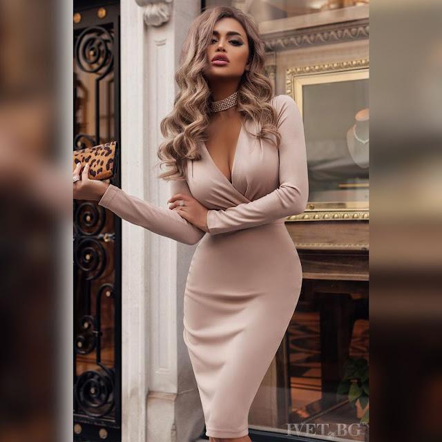 Μεσάτο μπεζ μακρυμάνικο  φόρεμα IVANINA BEIGE
