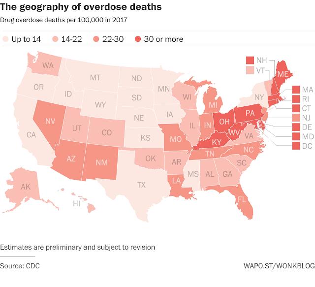 Muertes por opiáceos en USA distribución geográfica