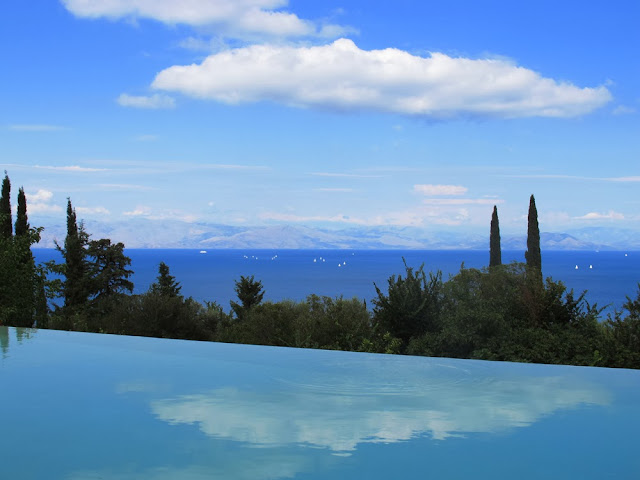 infinity pool at a private villa in Corfu, Greece