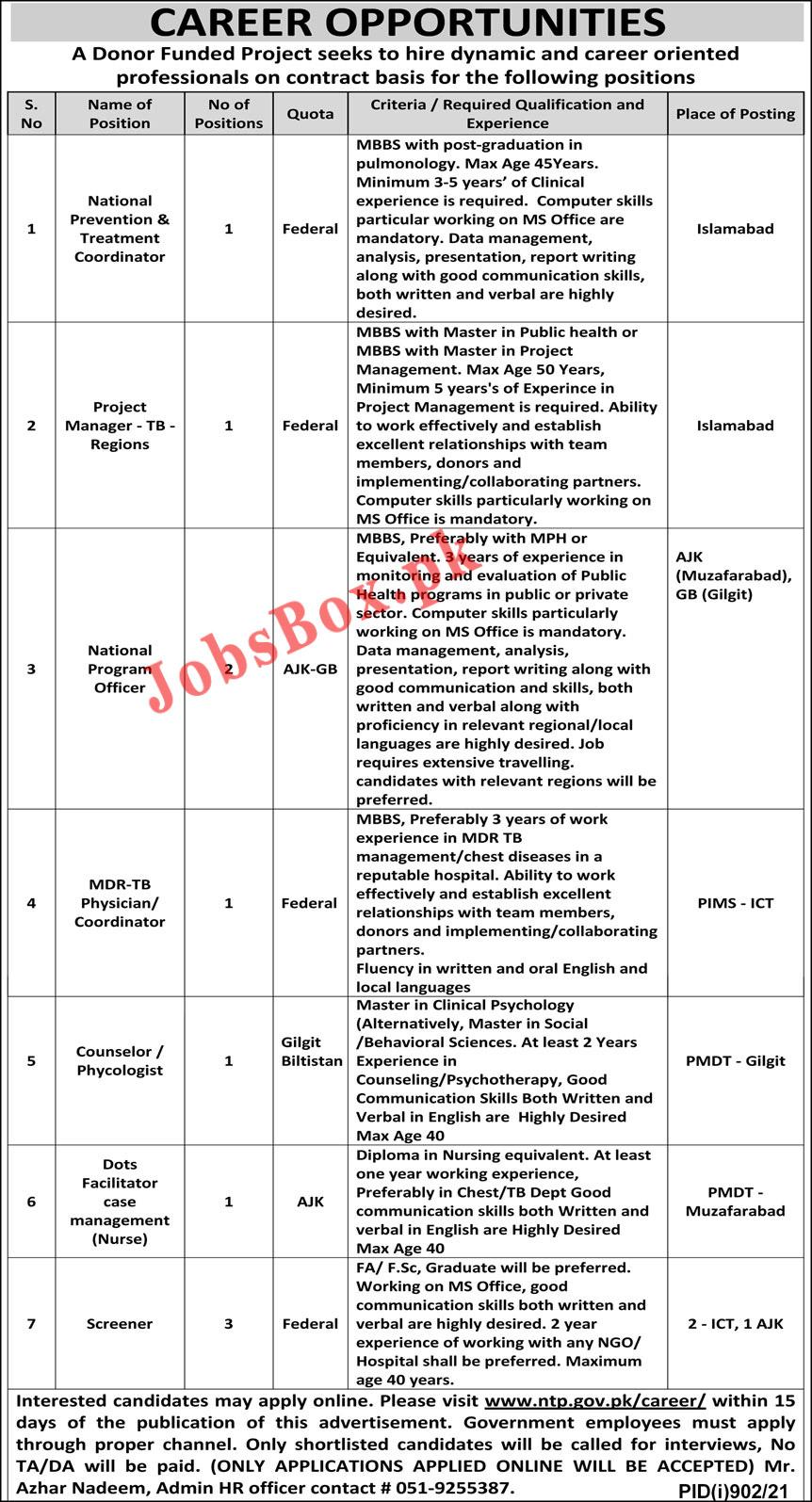 Latest National TB Control Program NTP Jobs 2021 – www.ntp.gov.pk