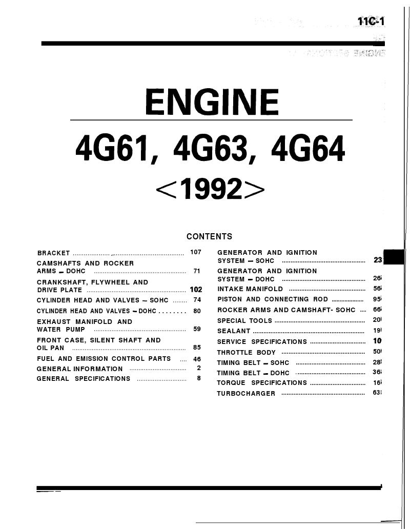 Mitsubishi Manuals: Free Mitsubishi Engine Overhaul Procedures