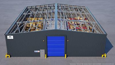 Perspective 3d charpente métallique hangar