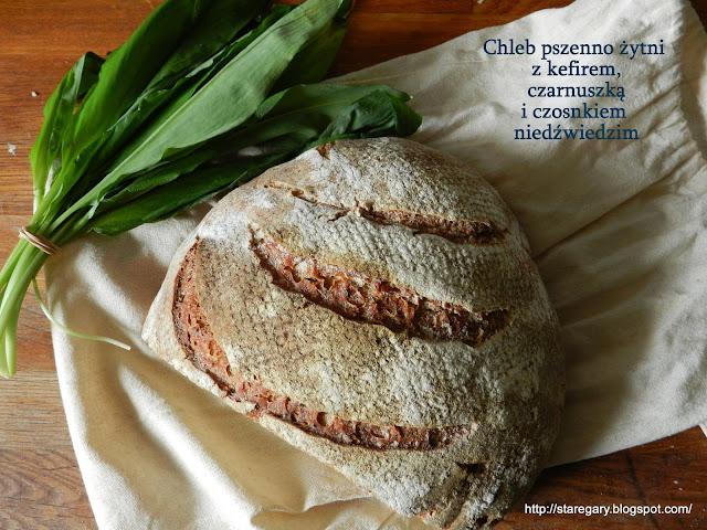 Chleb pszenno żytni z kefirem, czarnuszką i czosnkiem niedźwiedzim
