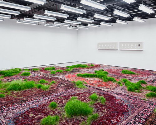 Tinuku.com Martin Roth planting grass on Persian rugs in Koo Jeong A. exhibition at Korean Cultural Centre UK