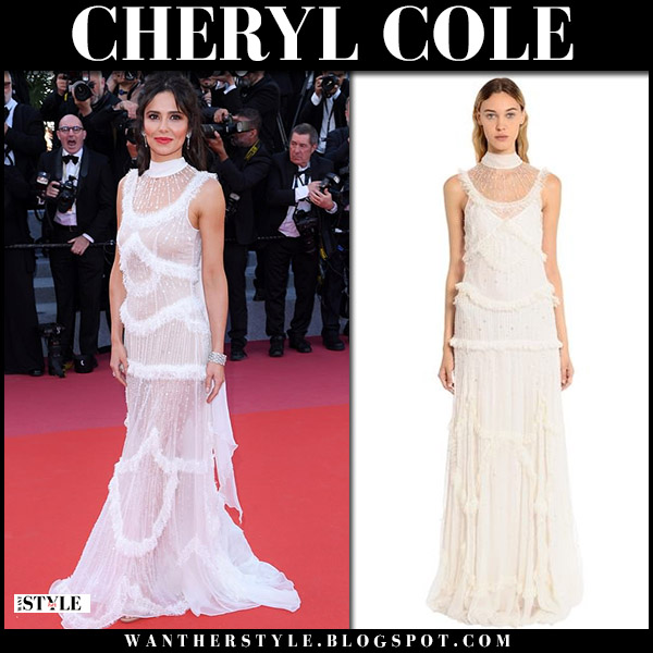 Cheryl Cole in white sheer beaded gown zuhair murad cannes film festival red carpet style 2018