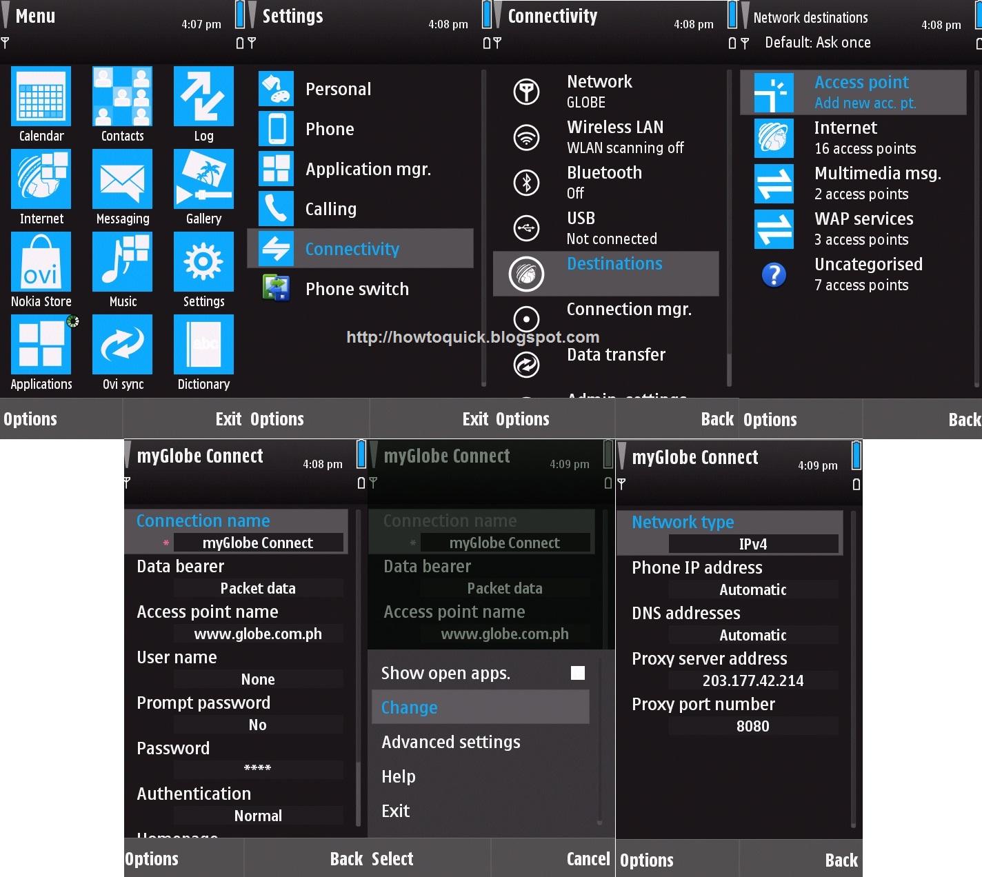 Nokia 5530 , 5800, 5230 S60V5 Manual 3G GPRS WAP MMS Settings (Globe, Smart  Sun network)
