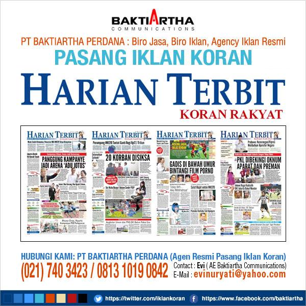 pasang iklan pengumuman di koran harian terbit