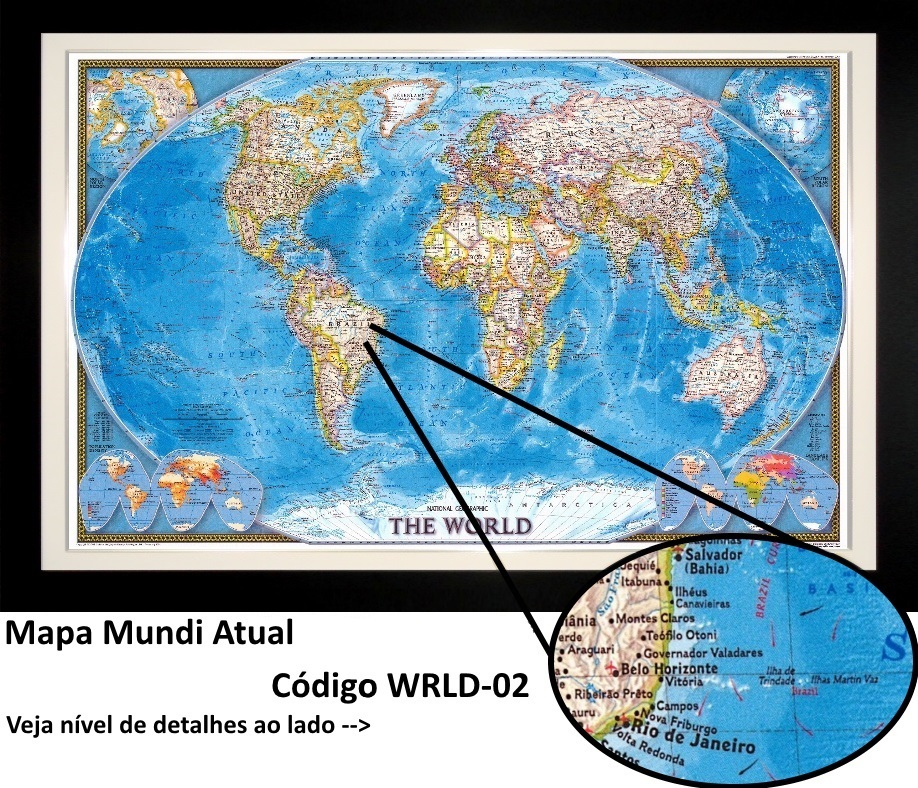 Quadro emoldurado Mapa mundi