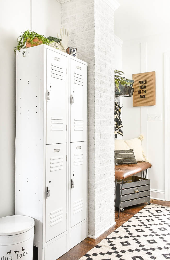 Painted lockers in mudroom