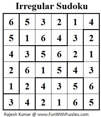 Irregular Sudoku (Mini Sudoku Series #19) Solution